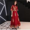 敬酒服新娘2019春款新款红色旗袍结婚答谢宴晚礼服裙女显瘦中长