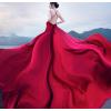 影楼主题服装新款酒红色深V大拖尾婚纱摄影情侣拍照写真