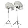神牛反光伞灯双灯头摄影灯套装简易摄影棚证件照器材照相直播灯光